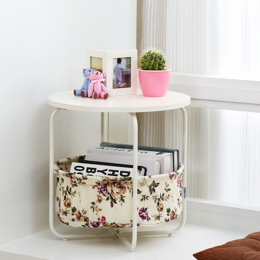 Round Wooden Side Table   2 Tiers With a Book Storage Canvas Basket Bag