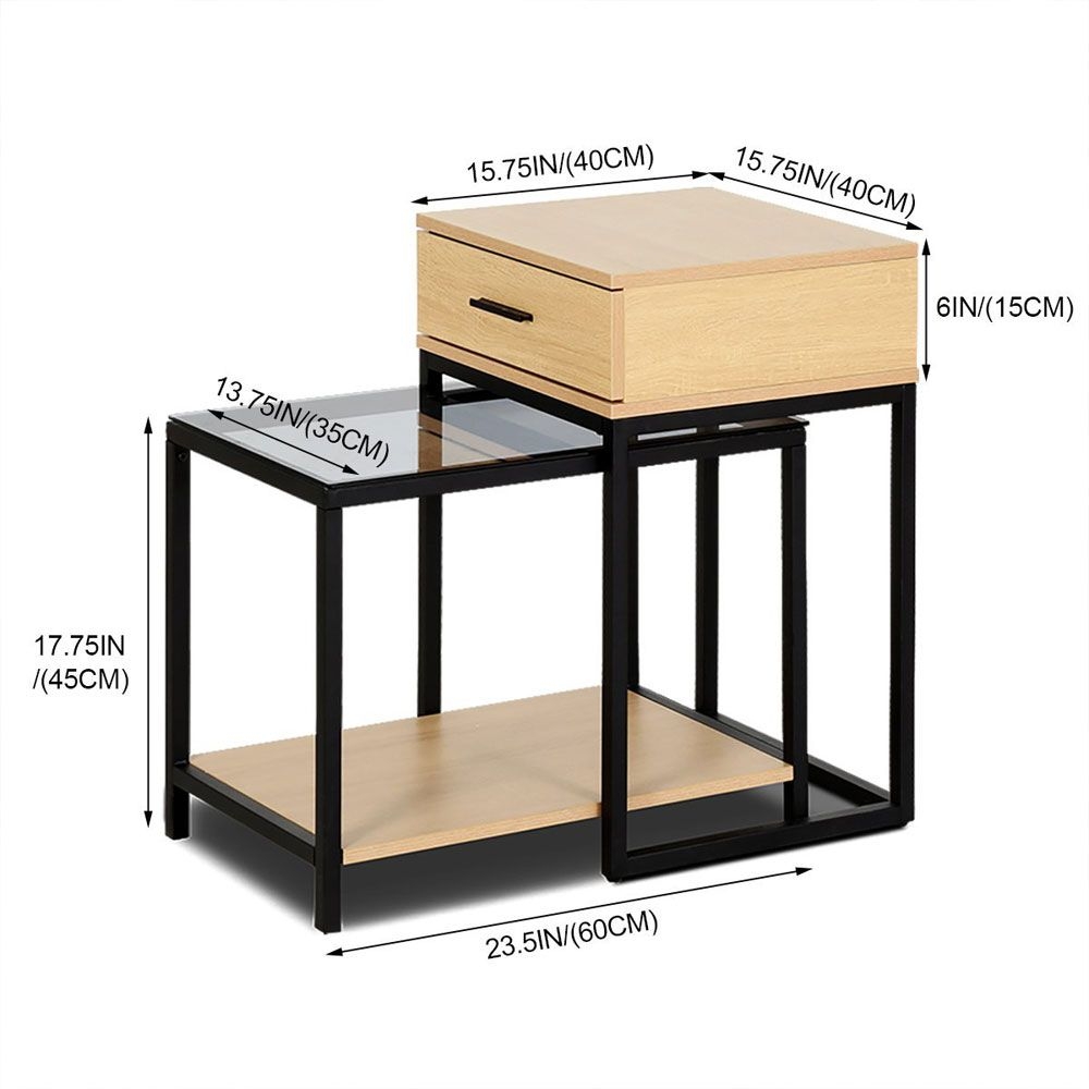 Nesting Table  Side Table 2-PIECE Tempered Glass Table with Drawer