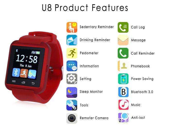 U8 Smart Bluetooth Watch with Pedometer for Sport