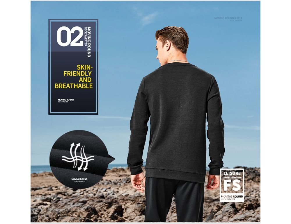 HUMTTO Men's Long-sleeved Round Neck Sweat-absorbent Sportswear