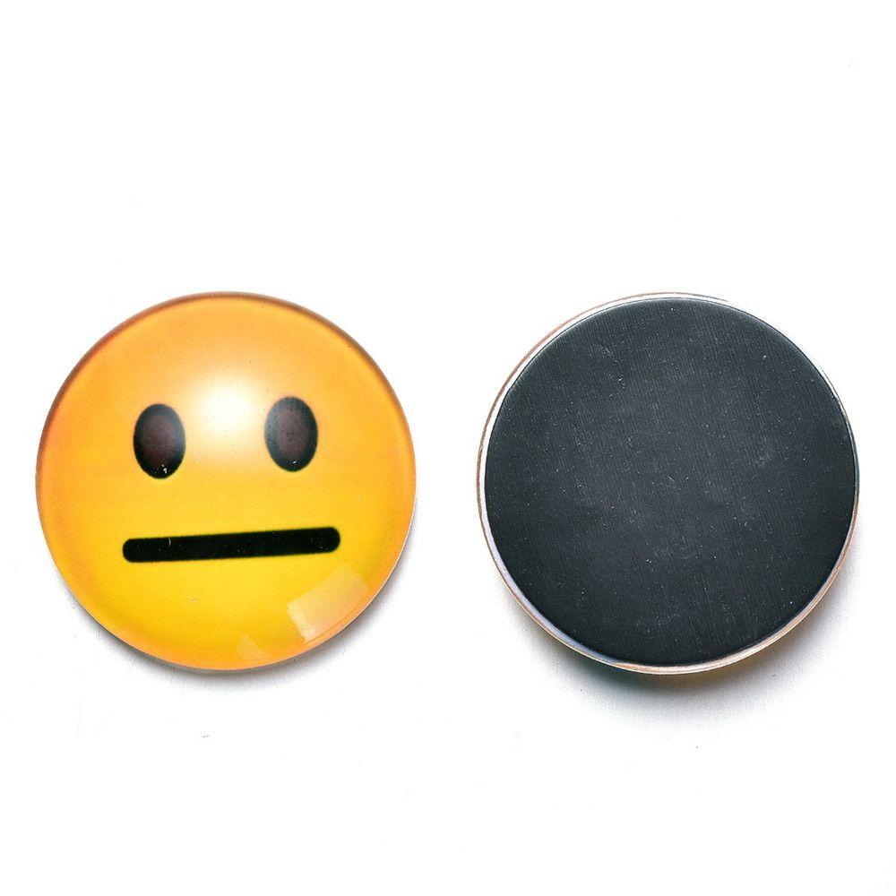 12PCS Crystal Glass Fridge Magnet Magnetic Emoji Smiley Face Expression