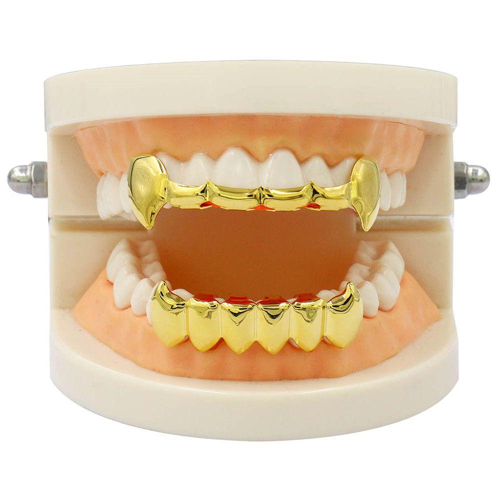 Hip Hop 18K Gold Color Vampire Fangs Teeth Grillz