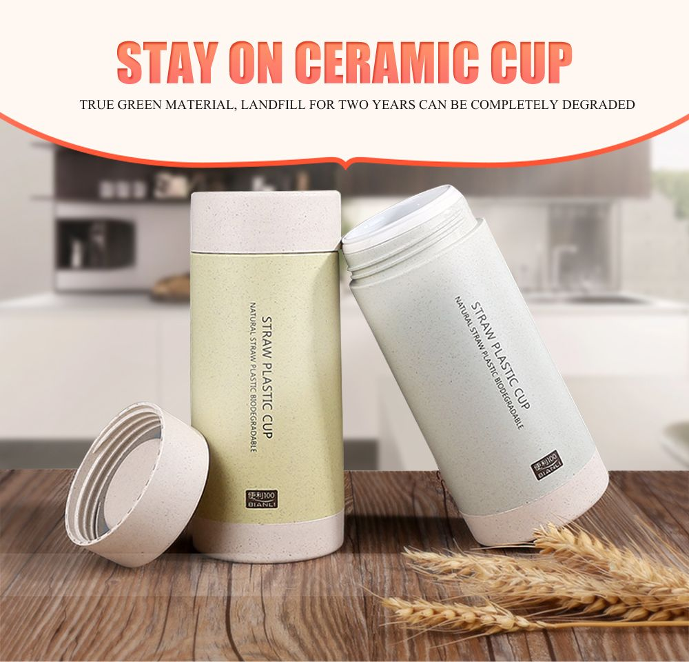 Creative Wheat Straw Plastic Mug Ceramic Tank Vacuum Cup Office Drinking Cup