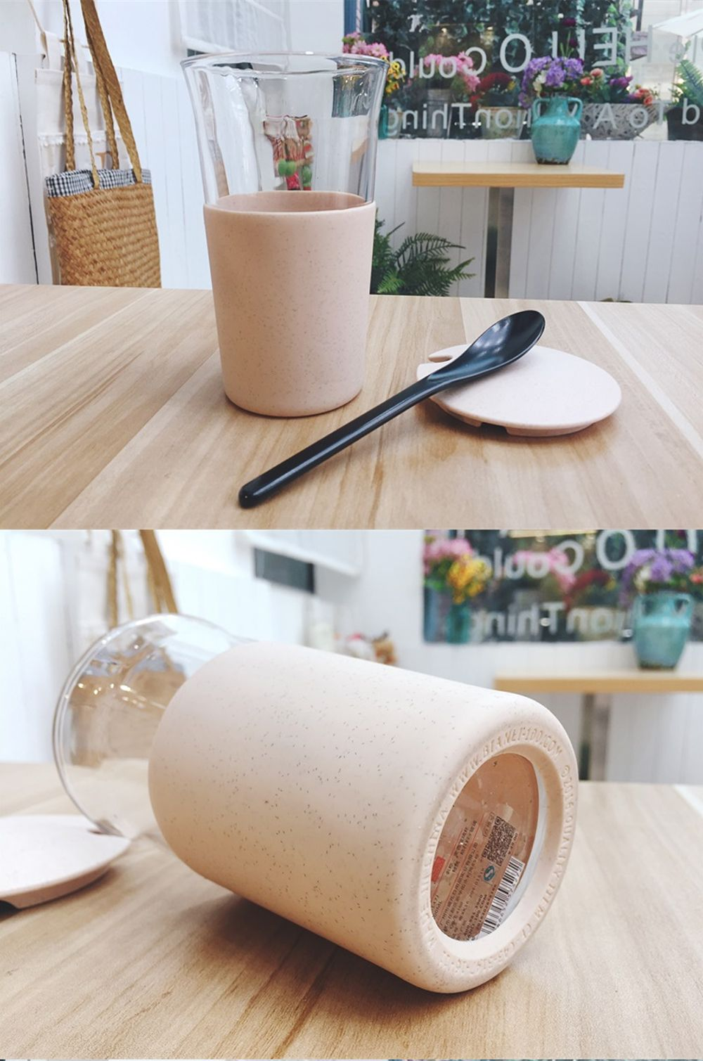 Wheat Straw Glass Home Office Coffee or Water Cup With Cover