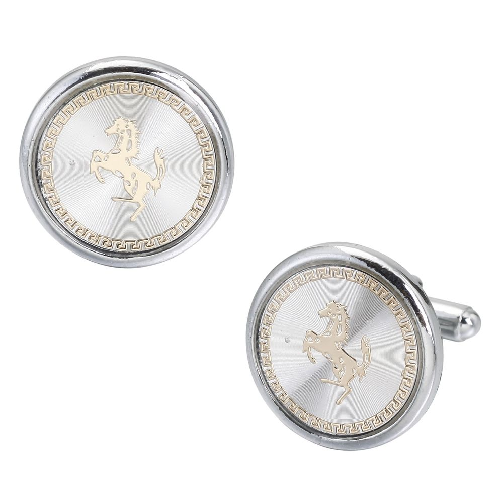 Round White Carbon Fiber French Horse Cufflinks Long Sleeved Shirt Nail
