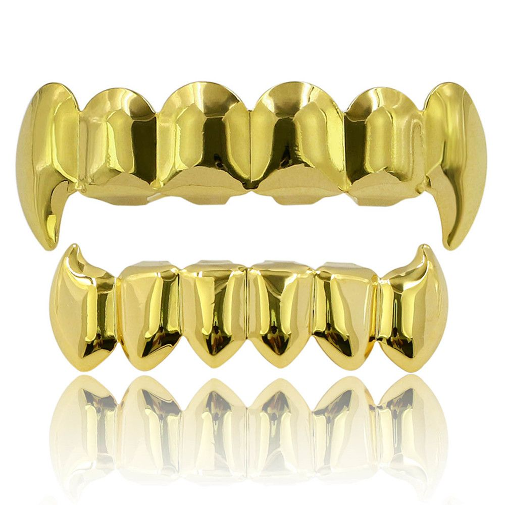 Hip Hop 18K Gold Color Plated Fangs Teeth Grillz