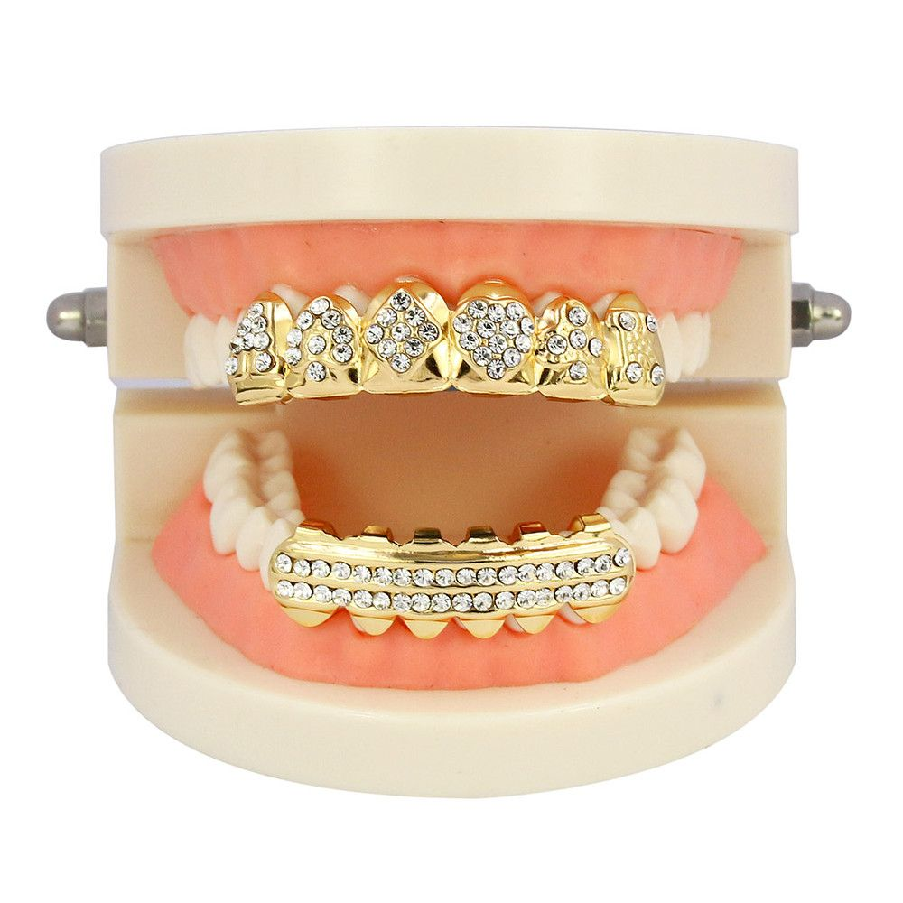 Hip Hop 18K Gold Plated Square A Teeth Grillz