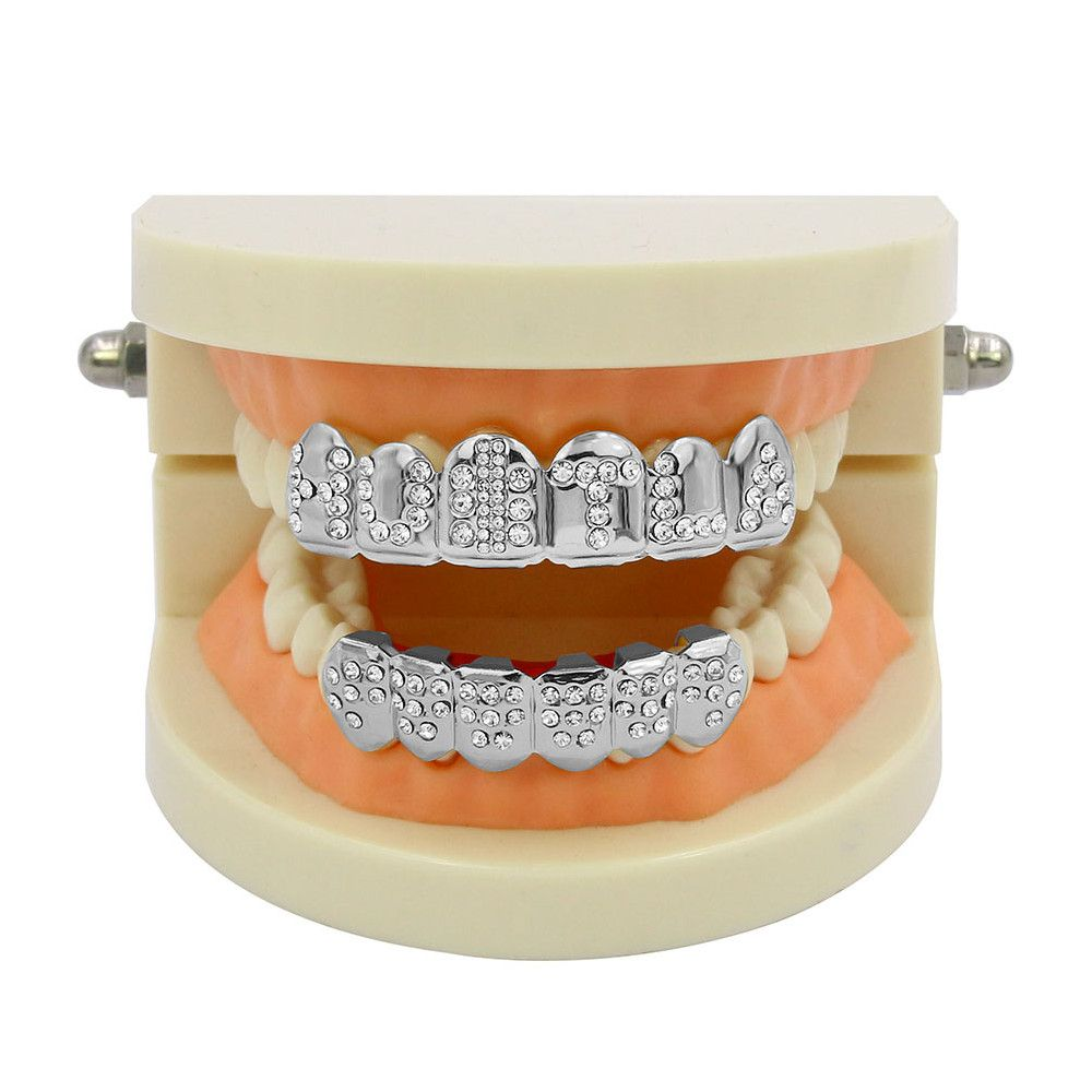 Hip Hop 18K Gold Plated English Letter Teeth Grillz