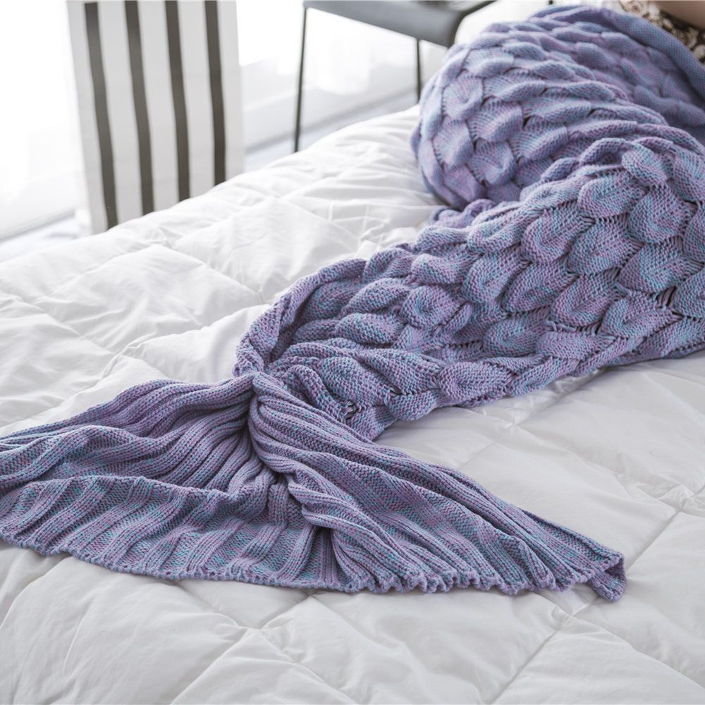 New Products Knitted Fish Scales Design Mermaid Tail Knitted Blankets