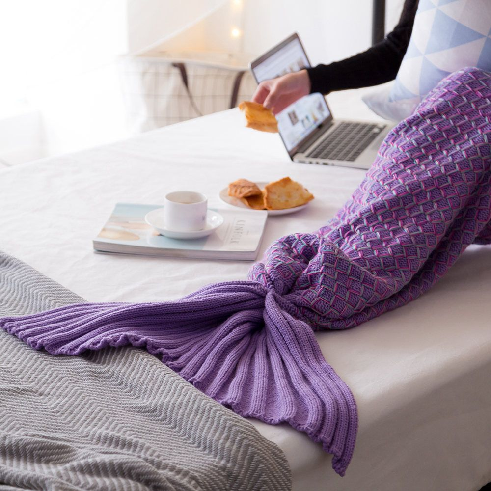 New Product Knitted Multicolored Fish Scales Design Mermaid Tail Blanket