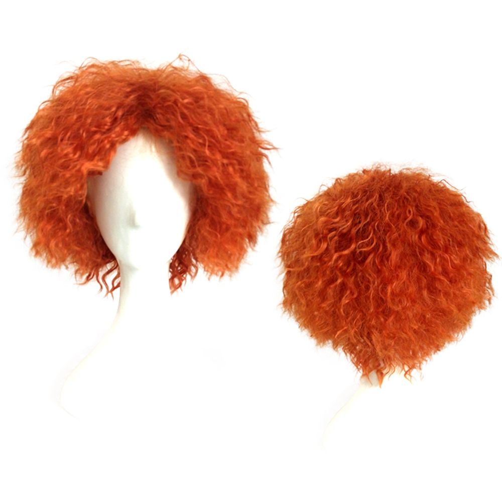 Mad Hatter Orange Color Short Curly Cosplay Wig Halloween Christmas Party Fancy Costume