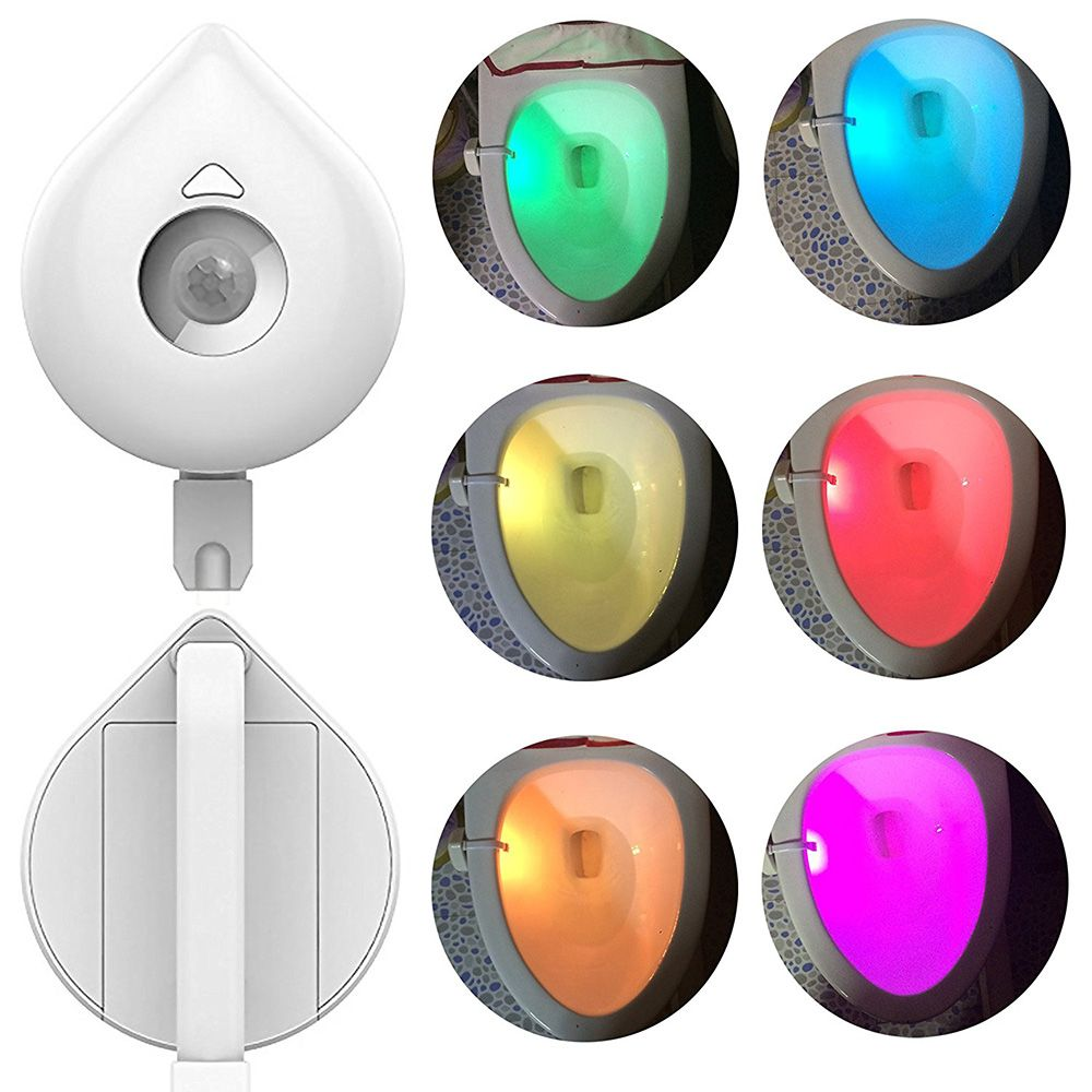 Toilet Light, Industrial Quality 8-Color Changing Body Sensor Motion Activated LED Toilet Bowl Night Light with Customiz