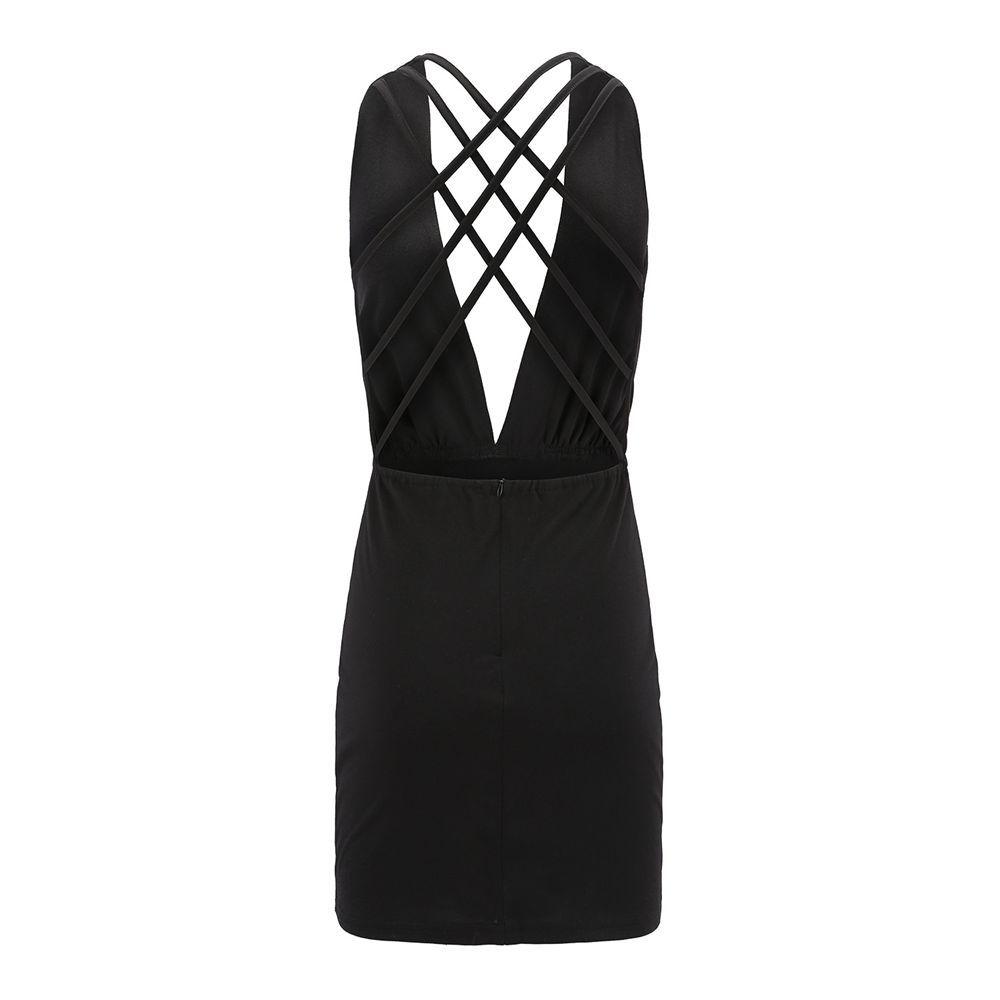 Sexy Deep V-Neck Back Cross Dress Jumpsuit
