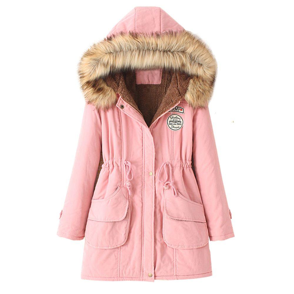 Women's Hooded Drawstring Elastic Waist Front Pokets Thicken Coat