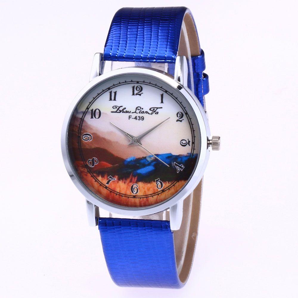 ZhouLianFa Landscape Pattern Creative Women'S Watch Crocodile Pattern Strap Casual Watch with Gift Box