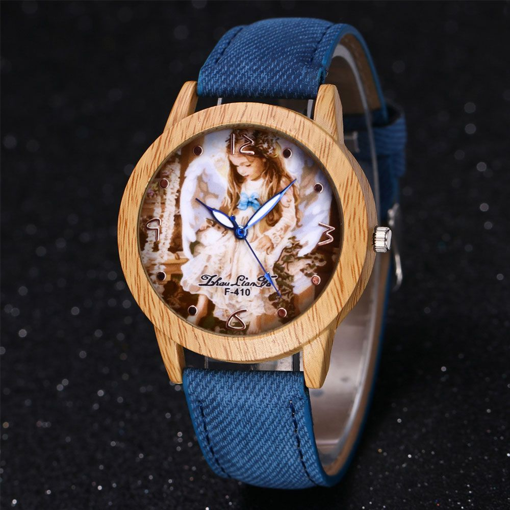 ZhouLianFa The New Trend of Casual Denim Canvas Angel Watch with Gift Box