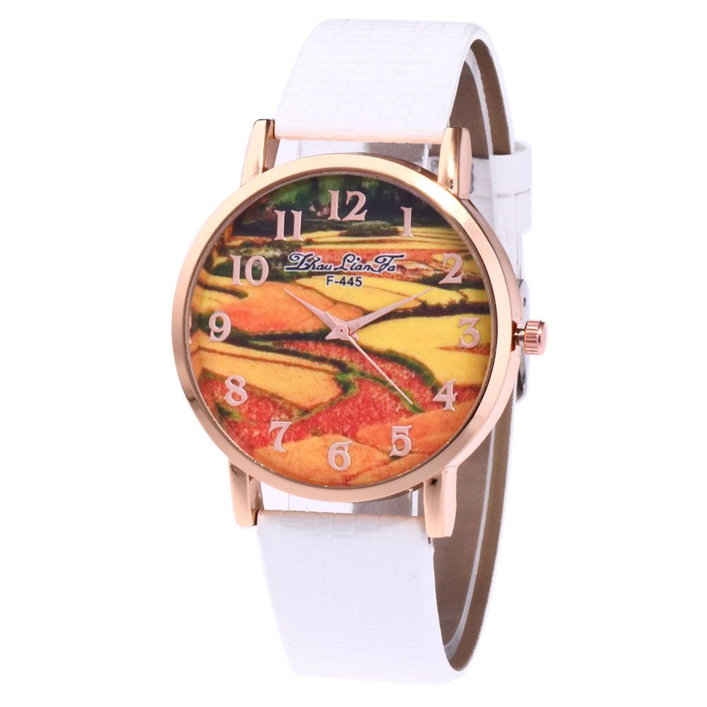 ZhouLianFa Pastoral Pattern Women'S Watch Crocodile Pattern Strap Casual Watch with Gift Box