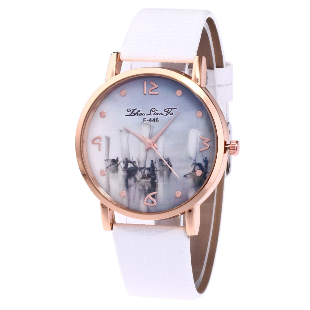 ZhouLianFa Fishing Patterns Women'S Watch Crocodile Pattern Strap Casual Watch with Gift Box