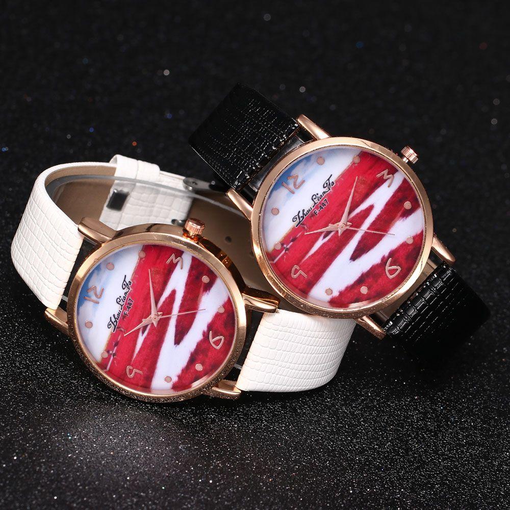 ZhouLianFa Red Landscape Pattern Women'S Watch Crocodile Pattern Strap Casual Watch with Gift Box