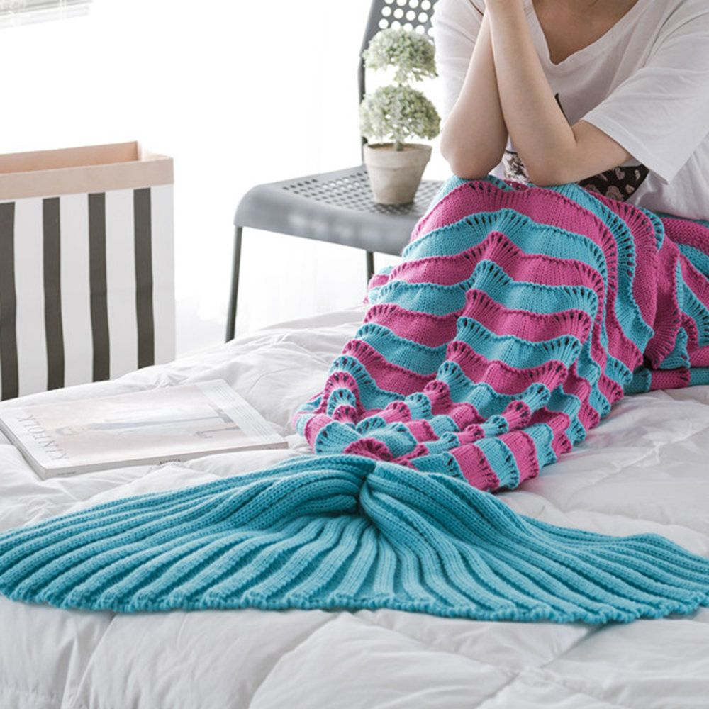 The New Product Knitted Wave Pattern Design Mermaid Tail Blanket