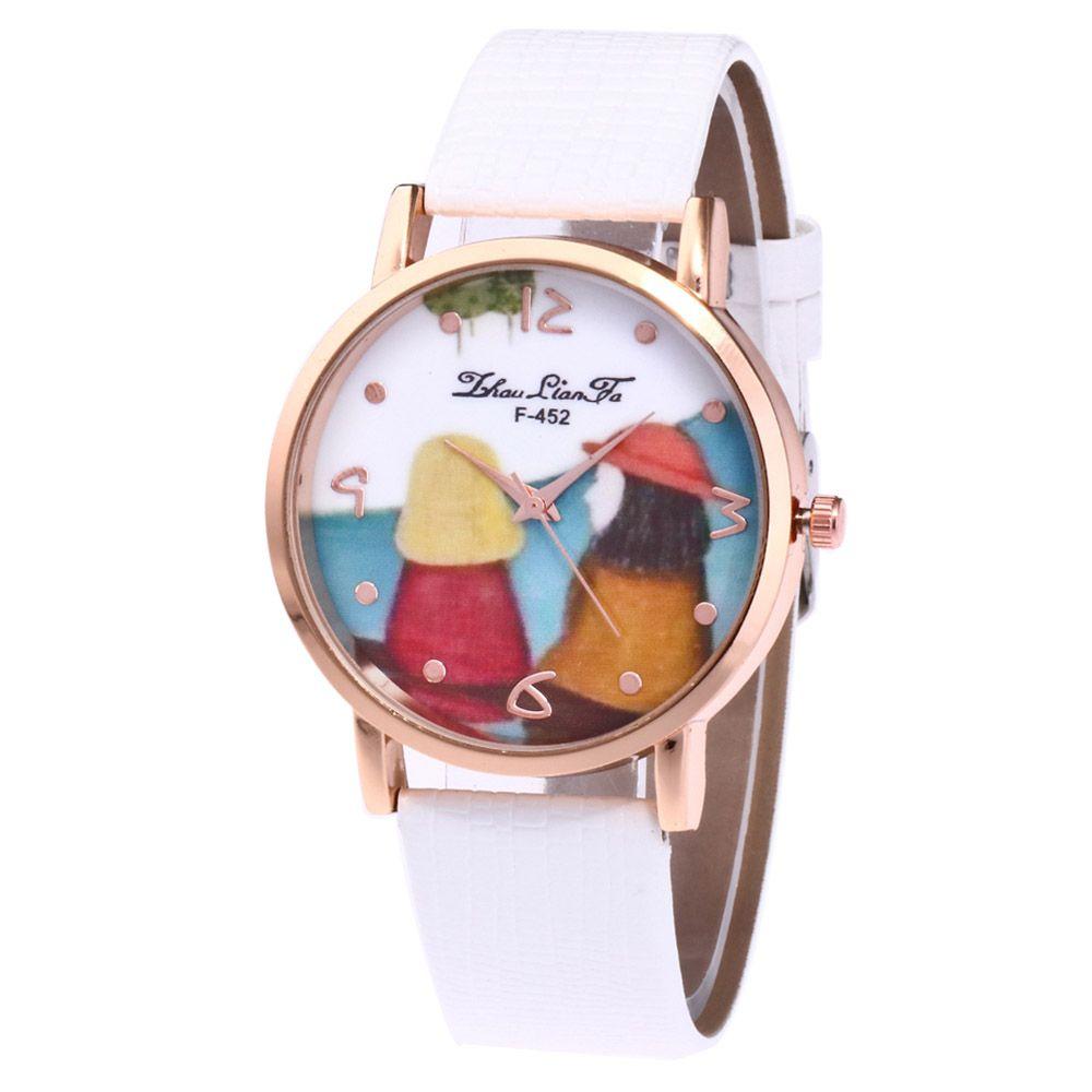 ZhouLianFa Cartoon Figure Pattern Women'S Watch Crocodile Pattern Strap Casual Watch with Gift Box