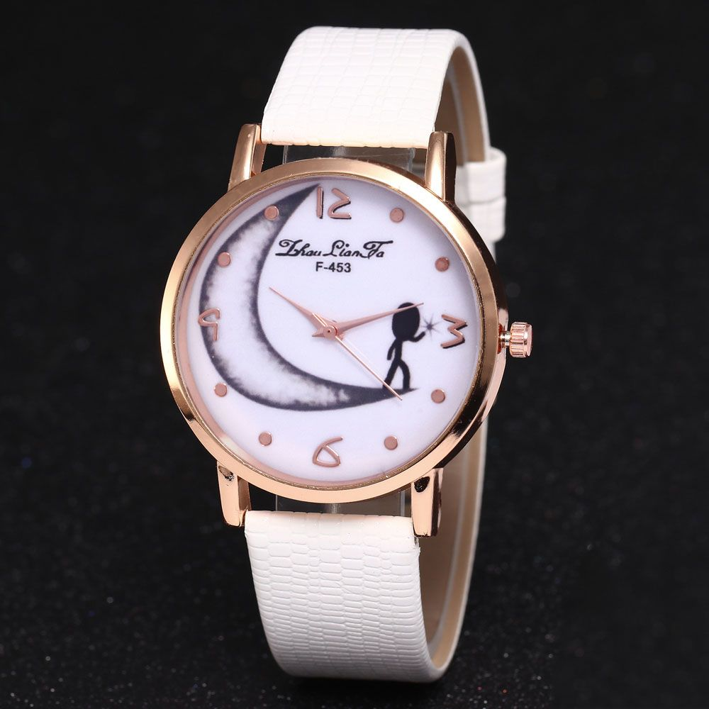 ZhouLianFa Half Moon Pattern Women'S Watch Crocodile Strap Watch with Gift Box