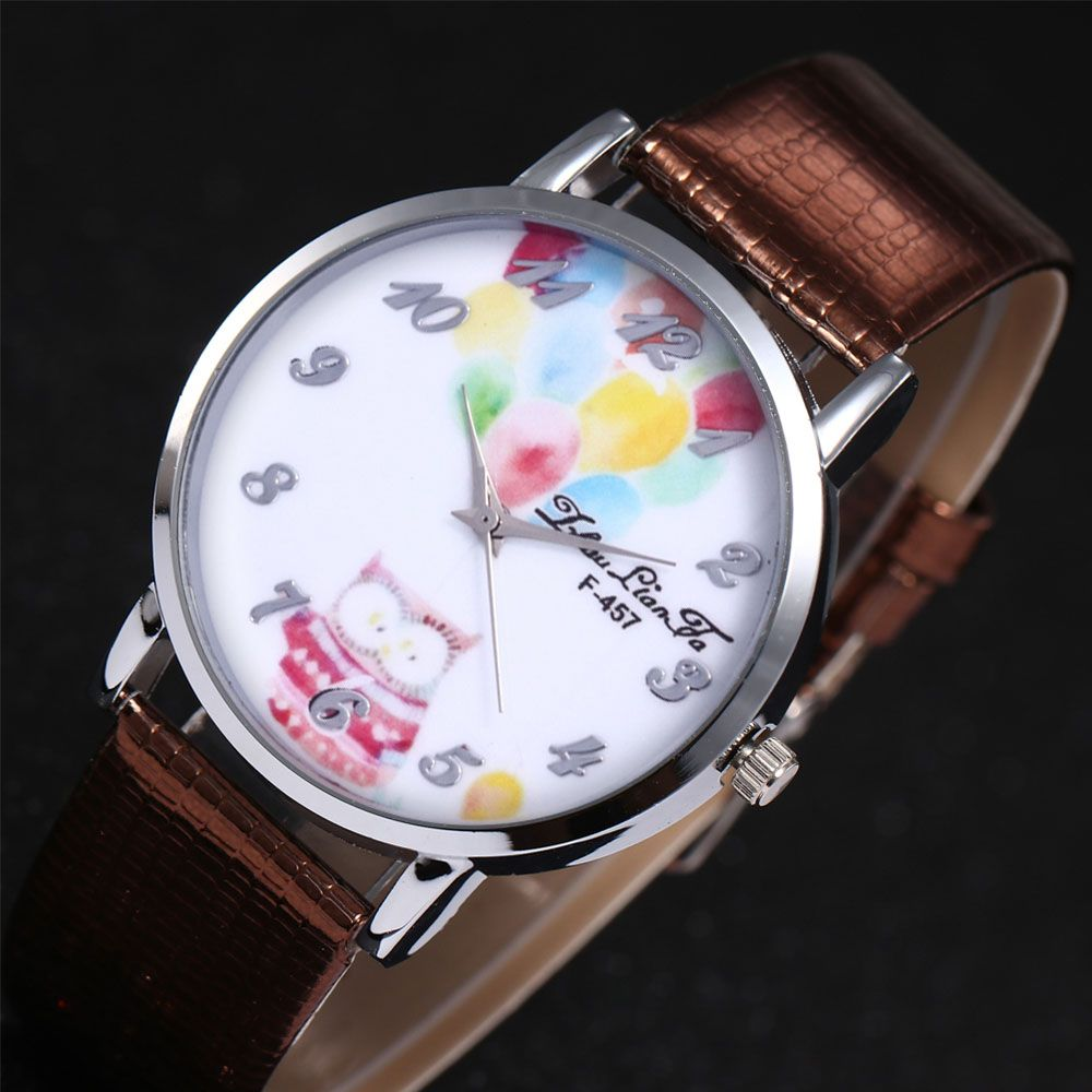 ZhouLianFa Dreamy Owl Pattern Women'S Watch Crocodile Pattern Strap Casual Watch with Gift Box
