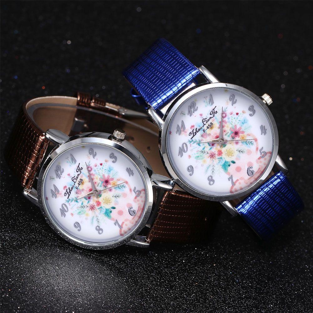 ZhouLianFa Water Bottle Floral Pattern Women'S Watch Crocodile Pattern Strap Casual Watch with Gift Box