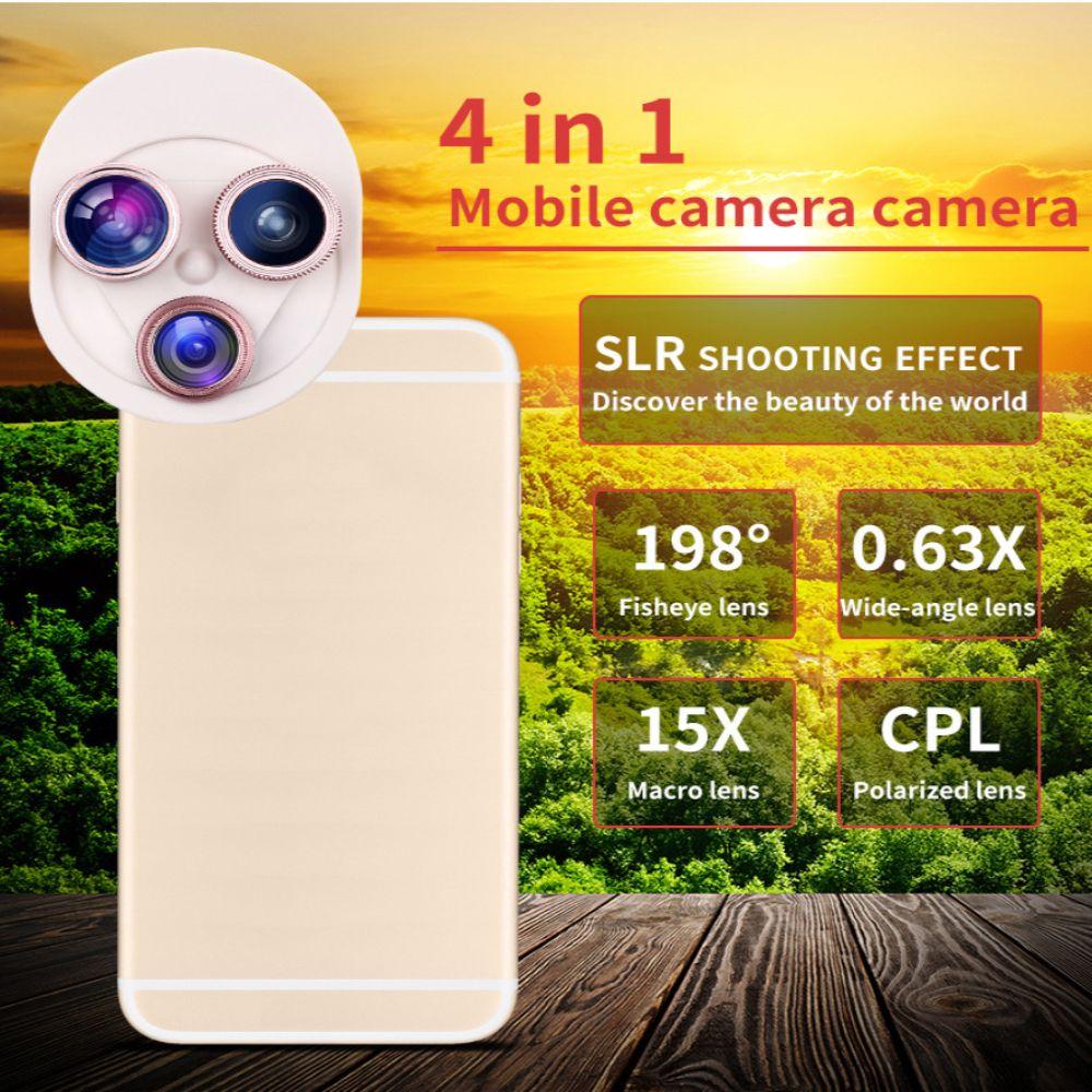 4 In 1 Clip Phone Lens Kit 198 Degree FishEye 0.63x Phone Lens -Rose Gold