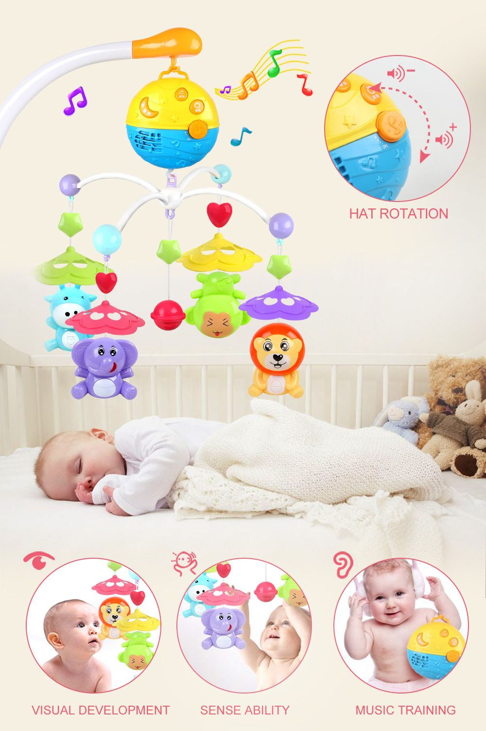 Baby Bed Bell Music Rotation Animal Early Education Baby Toy