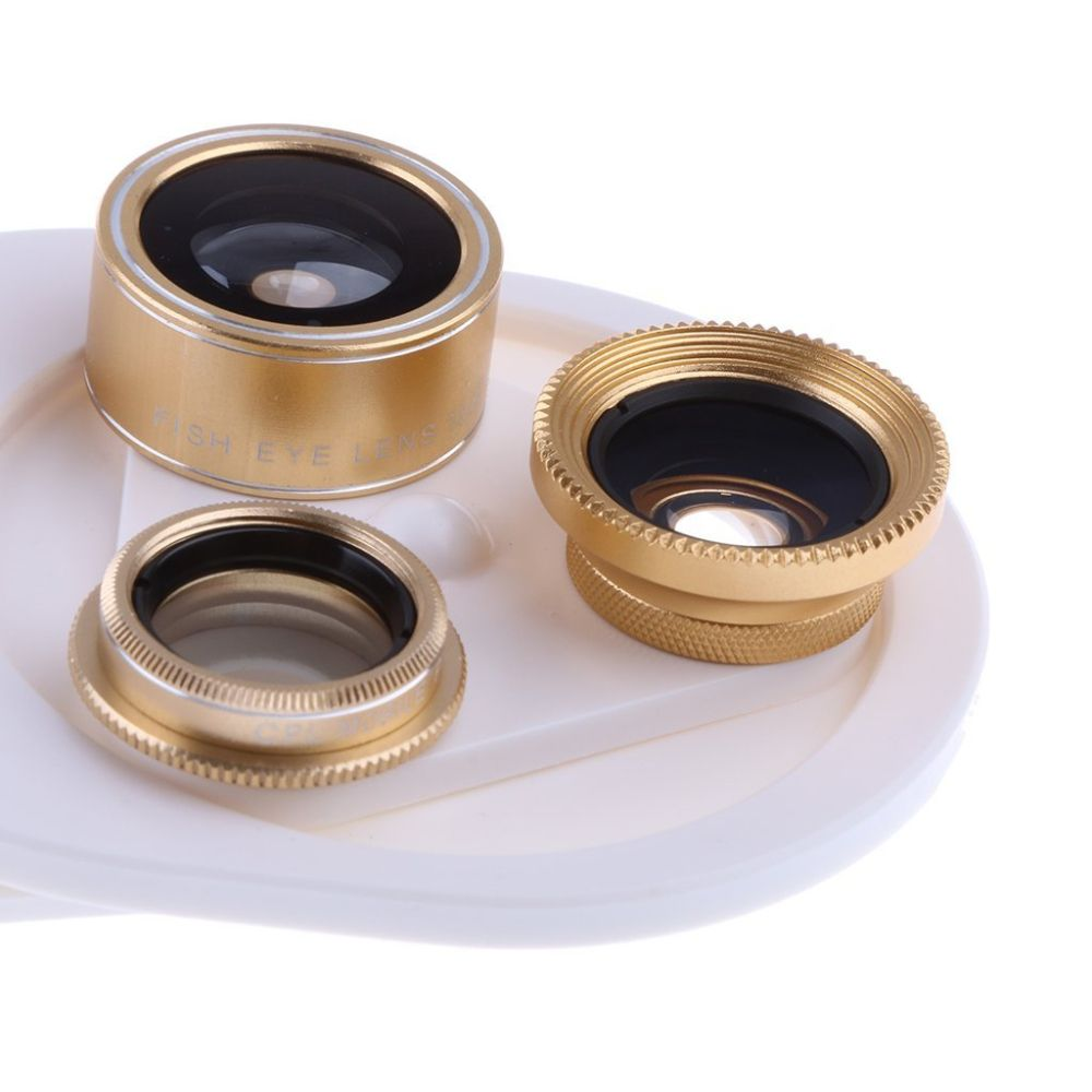 4 In 1 Clip Phone Lens Kit 198 Degree FishEye 0.63x Phone Lens -gold