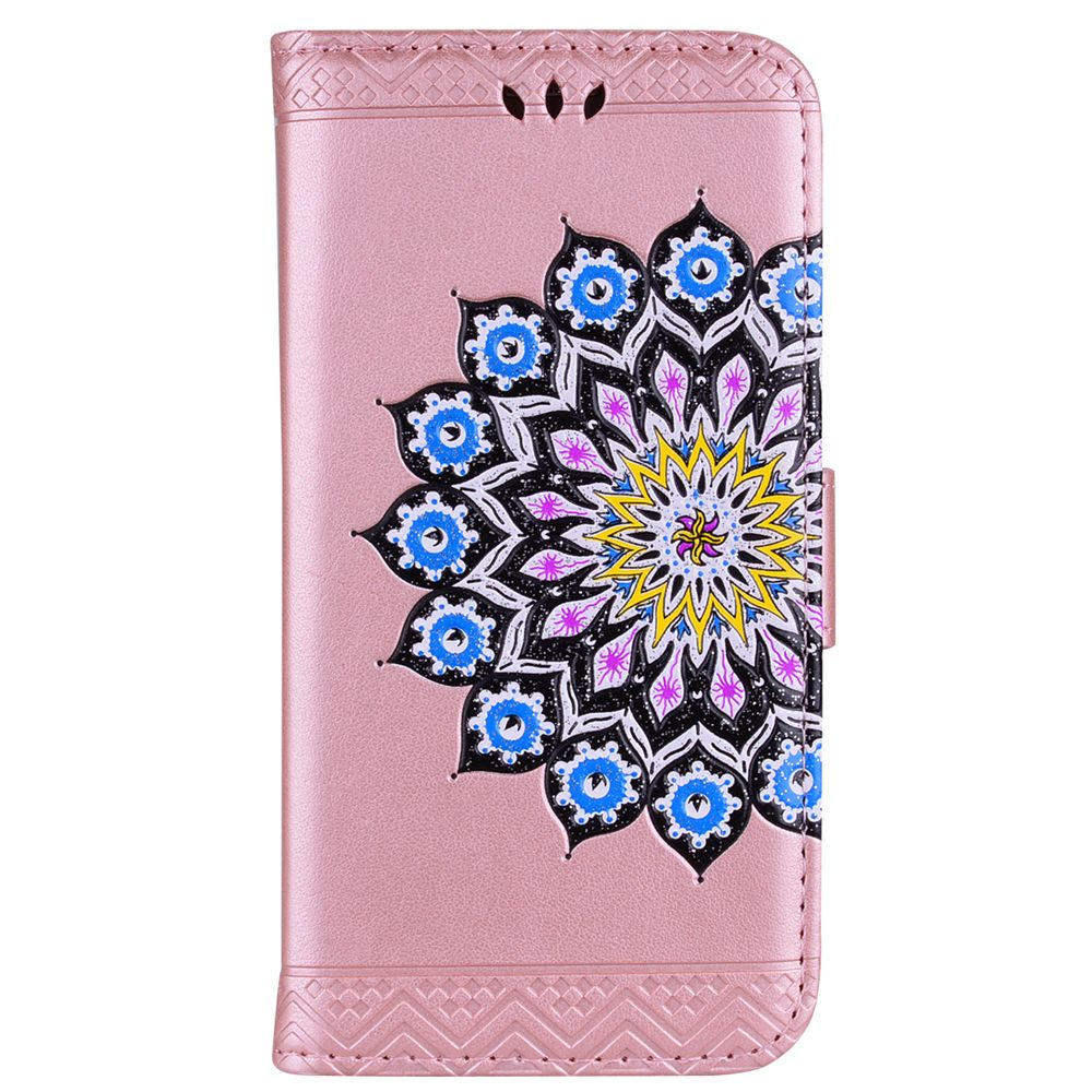 For Samsung Galaxy A7 2017 Glitter Mandala Flower Clamshell Protective Leather Case