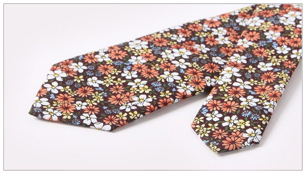 Men'S Fashion Floral Printed Cotton Necktie