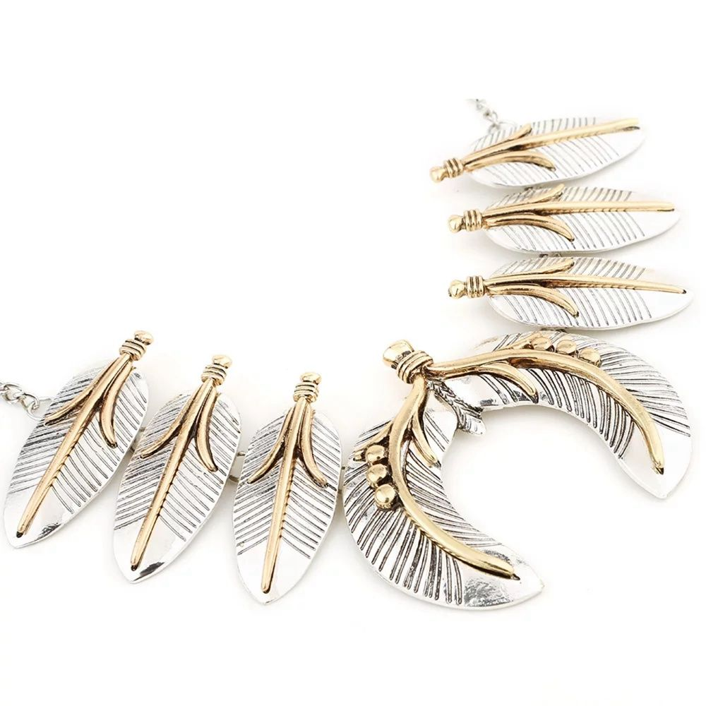 Vintage Punk Leaves Metal State Necklace for Women Bohemian Style Hyperbole Gold Silver Necklace Earring Set