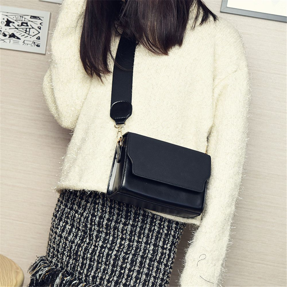 Retro Wide Shoulder Strap Trendy Messenger Small Square Package