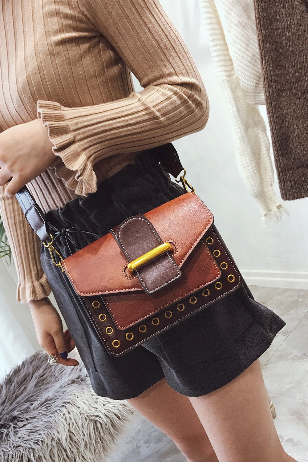 Rivet Small Bag Shoulder Strap Shoulder Bag Fashion Bag Hit Small Color