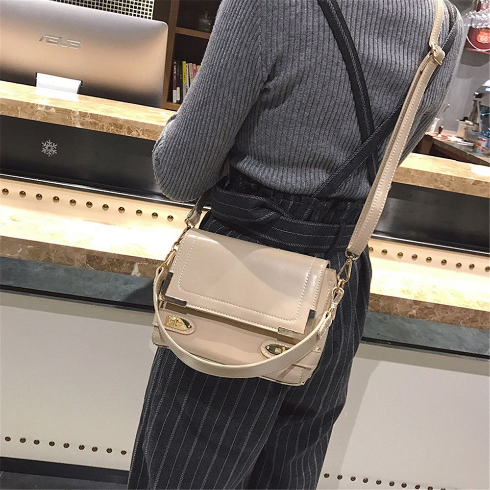 Female Shoulder Solid Color Retro Messenger Small Square Bag