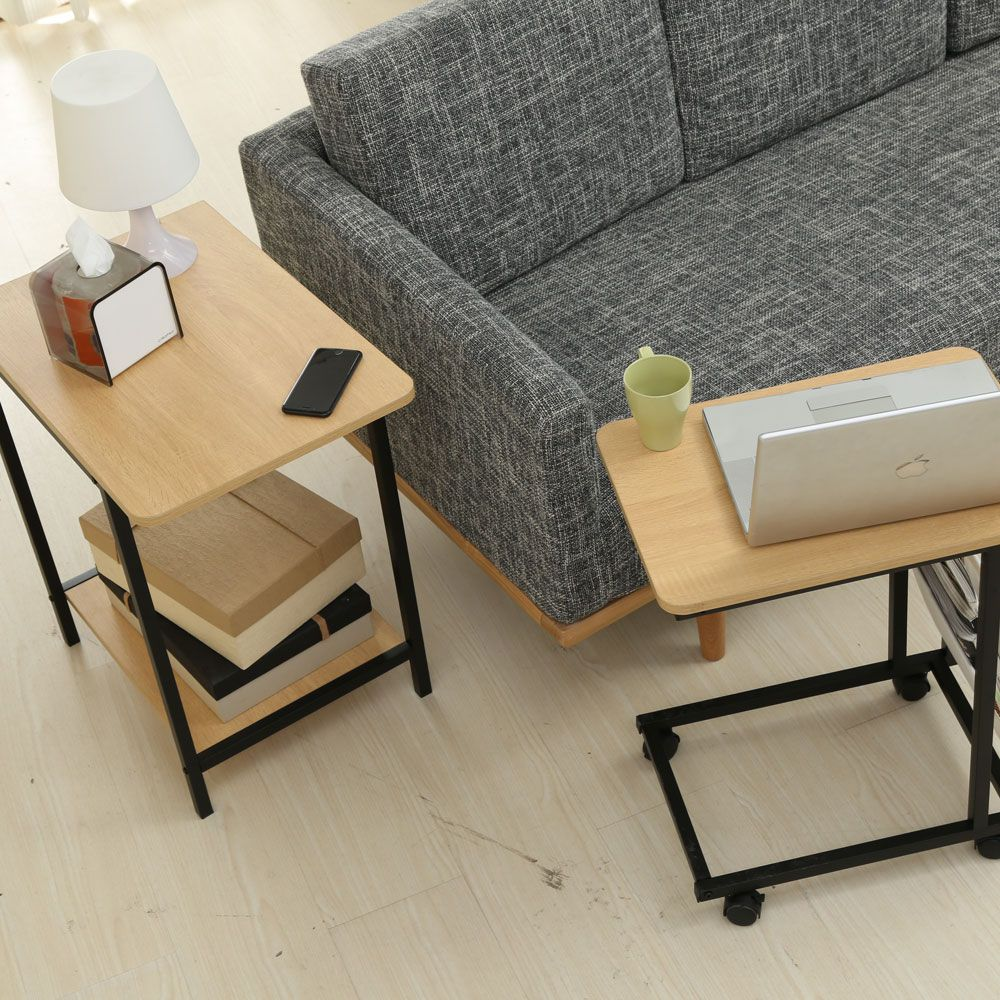 Nesting Table Set with Wheels Sofa Side Table