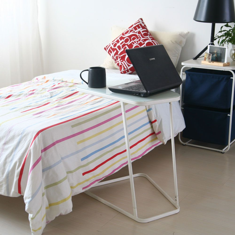 Toughened Glass Top Table  and C Shape End Table  Small Side Table Computer