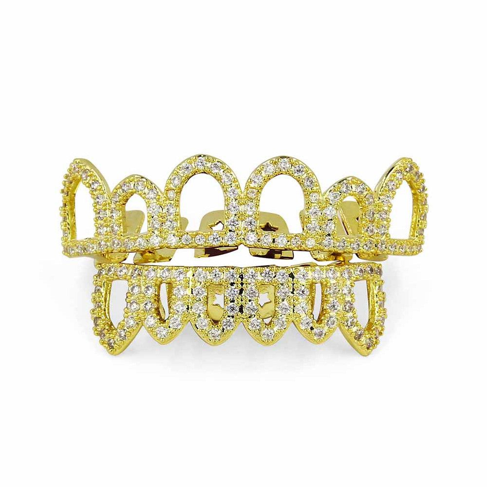 Hip Hop 18K Gold Plated Hollow CZ Stone Teeth Grillz