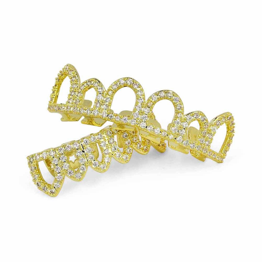 Hip Hop 18K Gold Plated Hollow CZ Stone Teeth Grillz