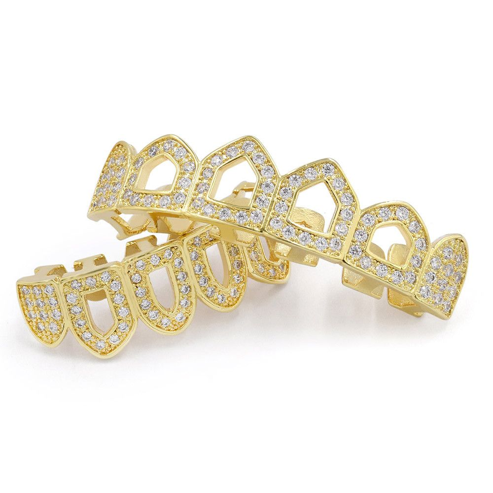 Hip Hop 18K Gold Plated Hollow Micro Pave CZ StoneTeeth Grillz