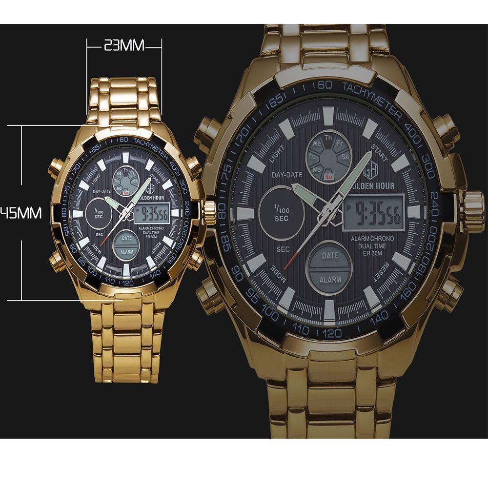 Watches Men Luxury Brand AMUDA Gold Golden Watches Men Sports Quartz-Watch Dual Time Relogio Masculino