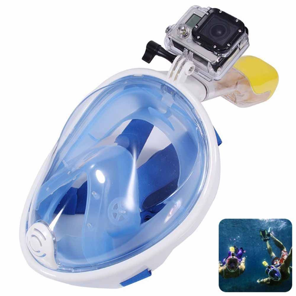 M2068G+180 Degree Panoramic View+Snorkel Mask+Blue,L/XL