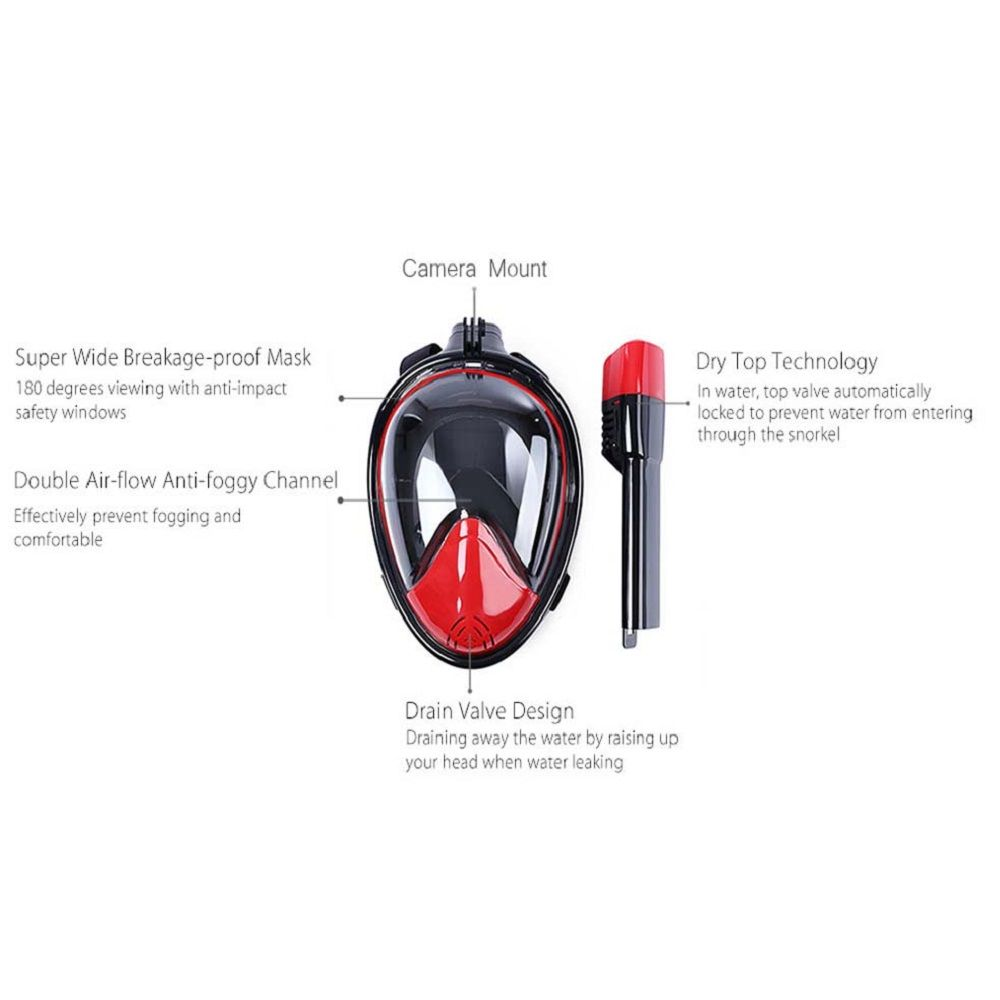 M2098G+180 Degree Panoramic View+Snorkel Mask+Black and Red