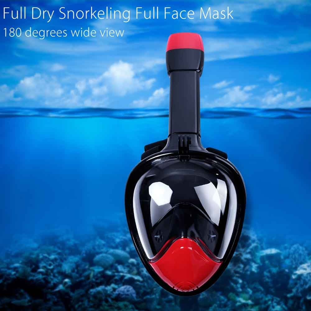 M2098G+180 Degree Panoramic View+Snorkel Mask+Black and Red,L/XL