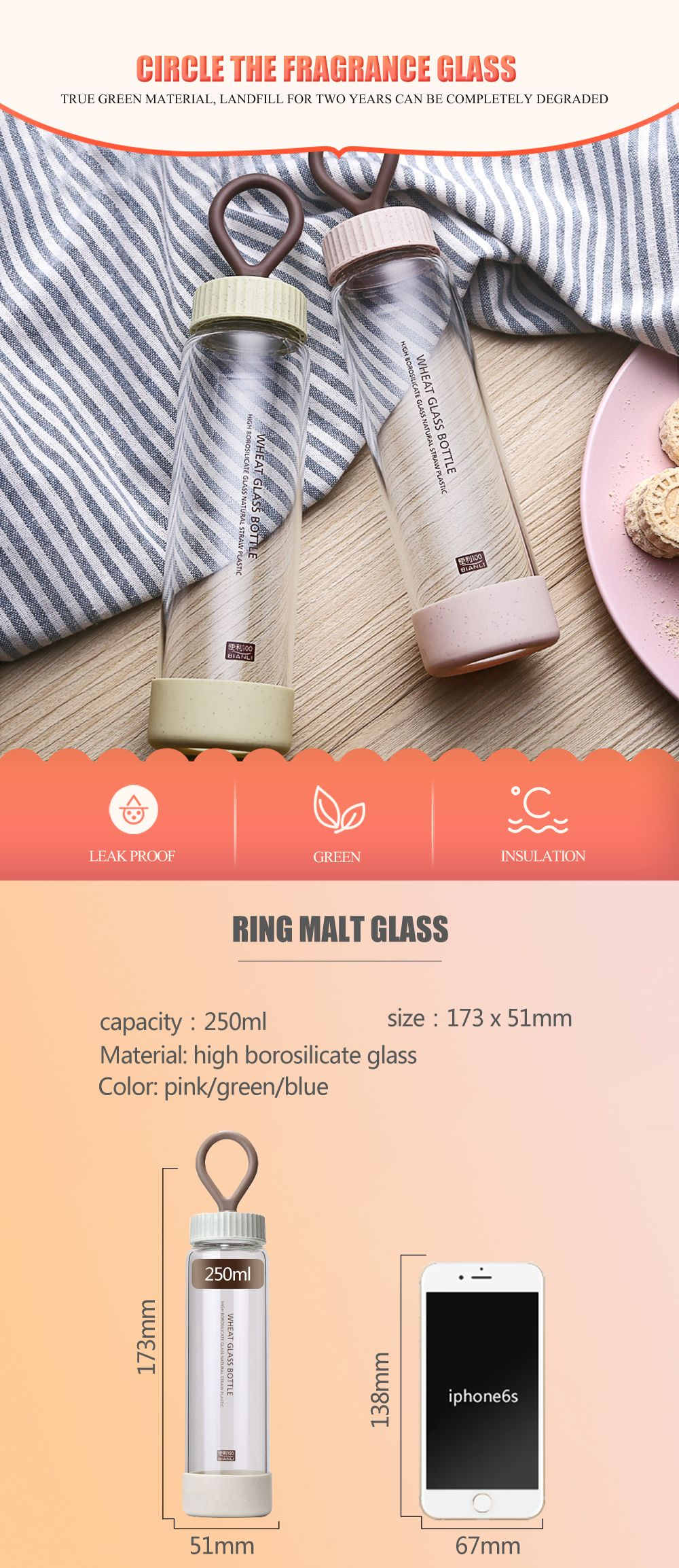 South Korean Version Slender Wheat Straw Material Glass Mini Portable Female Student Cute Water Cup