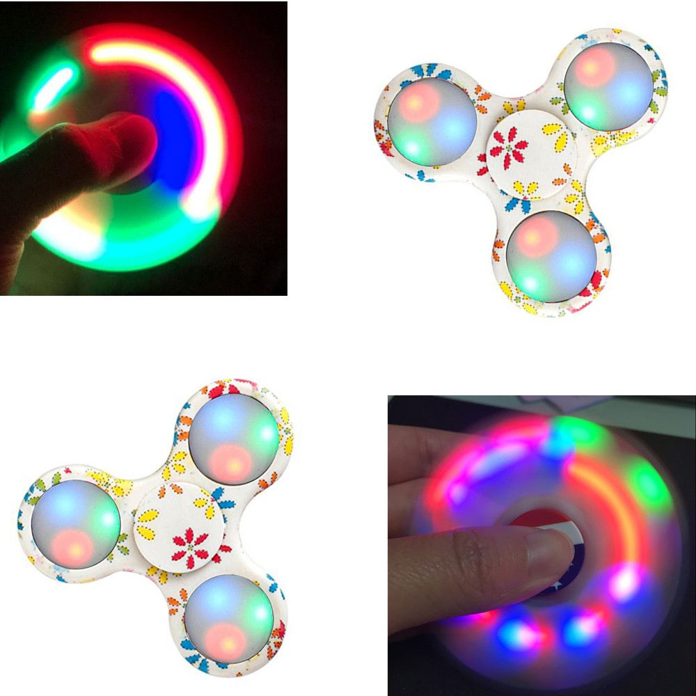 Fidgetec Premium Water Resistant Tri Fidget LED Hand Spinner With On/Off Switch and Mode Flashing LED Lights
