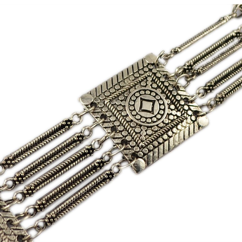 Tribal Bohemian Body Jewelry Silver Plated 5 Layers Pattern Vintage Flower Belly Dance Belt Chain Waist Jewelry