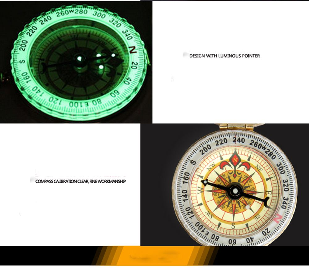 FEIRSH Portable Outdoor Compass Driving Car Compass With The Key Chain Of The Compass Bronze Waterproof Night Light